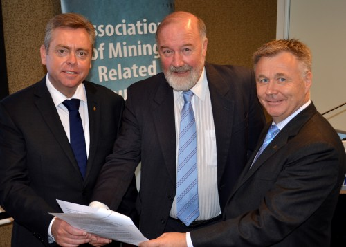 Singing from the same Hymn Sheet?... Association of Mining Related Councils Chair, Cr. Peter Shinton, flanked by Minister for Resources and Energy, the Hon. Anthony Roberts and the Hon. Mick Veitch MLC, who has a range of rural and regional portfolios in the Shadow Ministry.